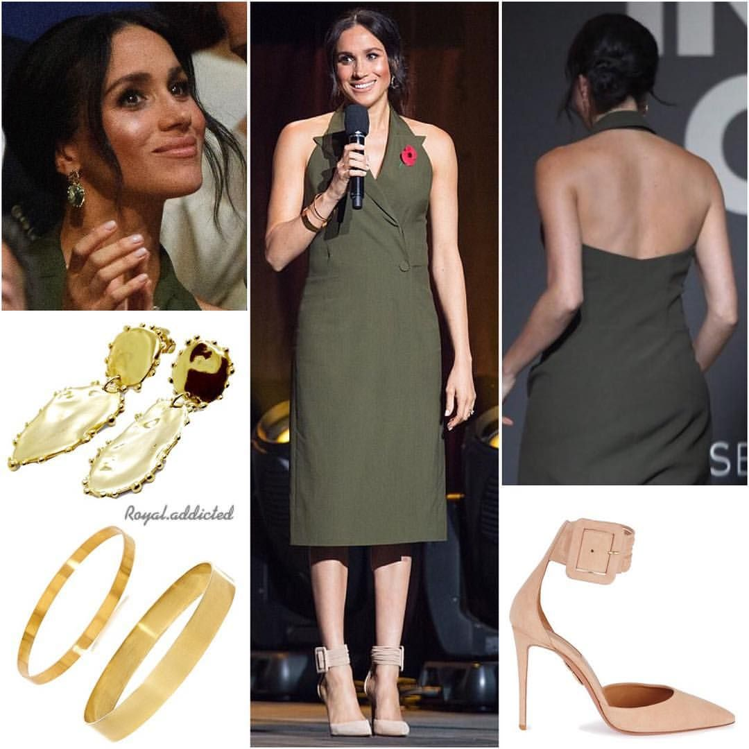 Heels for dark green dress  Royal Addicted on Instagram ucDuchess of Sussex Style Dress