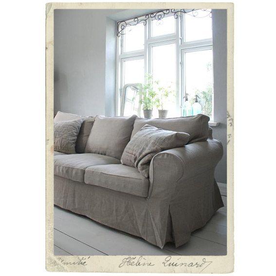 Cover for IKEA sofa Ektorp, bright or dark linen Slipcovers and - ikea ektorp gra
