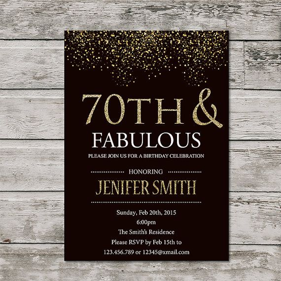 70th birthday invitation for women printable seventy and fabulous 70th birthday invitation for women printable seventy and fabulous birthday invite golden 70th invitation silver glitter any age filmwisefo