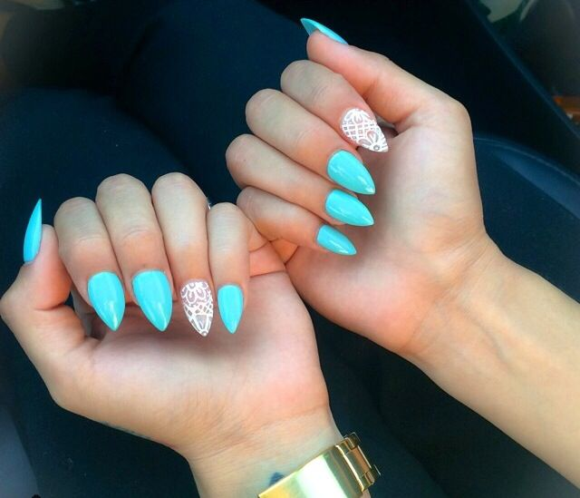 bright blue almond shape nails