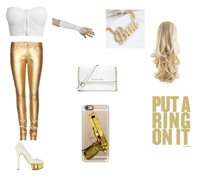 """""""Gold and White"""" by amalezucania ❤ liked on Polyvore featuring NLY Trend, Yves Saint Laurent, Charlotte Olympia, MICHAEL Michael Kors and Casetify"""
