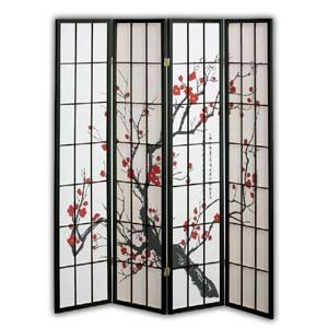 ~* Oriental Village *~ Screens, Room Dividers : Shoji Rice Paper Screen Room Divider, 4 Panels, Red Blossom, Black [#SC856-PR4B]