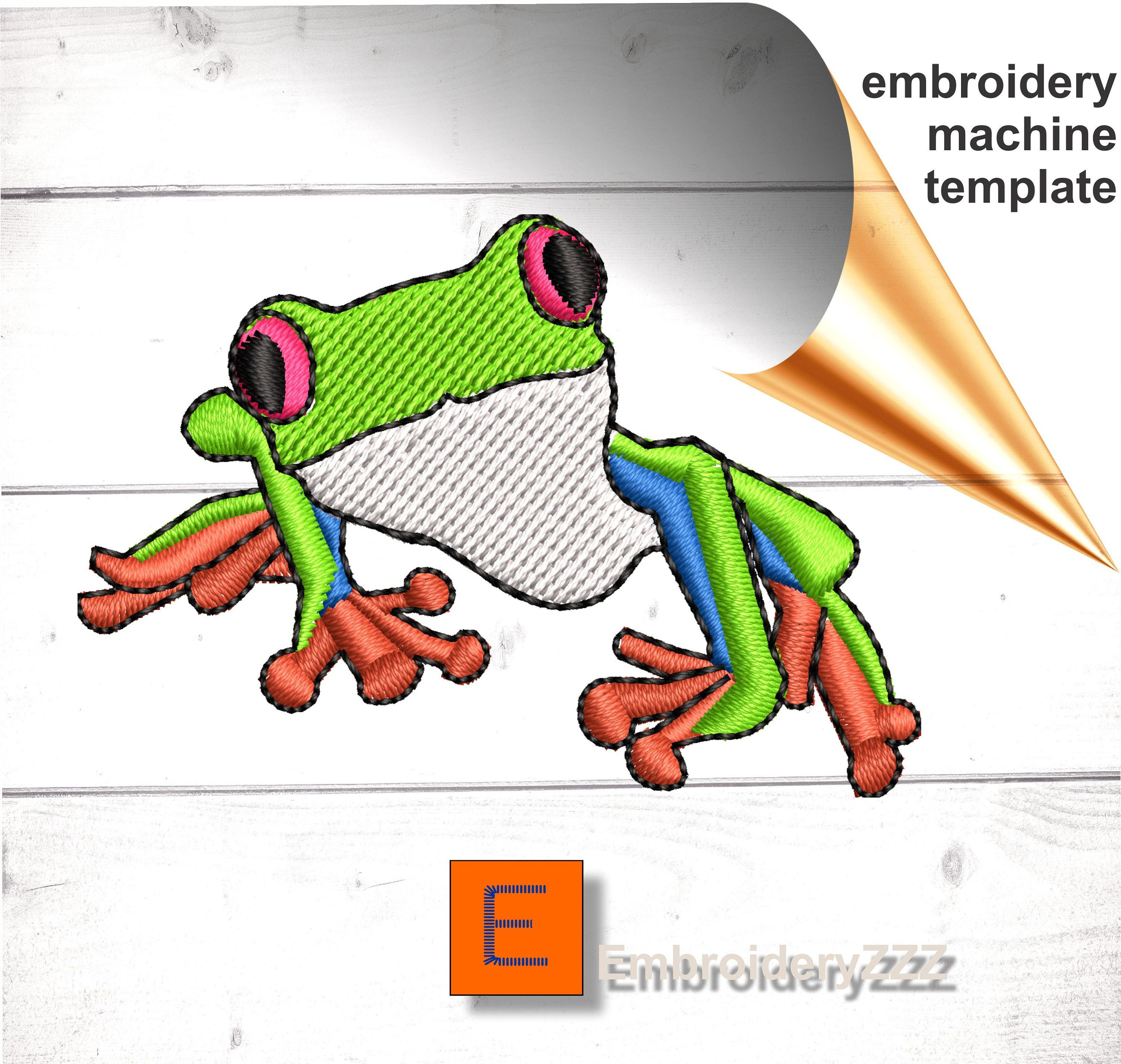 Tree Frog Embroidery Design Pattern Red Eyed Rain Forest