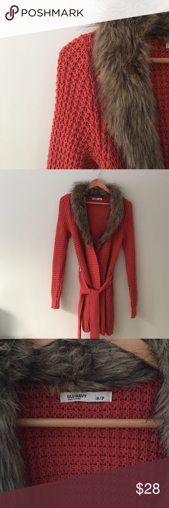 Old Navy Fur Collar Long Cardigan Stunning fur collar cardigan by Old Navy.  Burnt orange. Sash for tie closure. Size Small. EUC. Old Navy Sweaters Cardigans