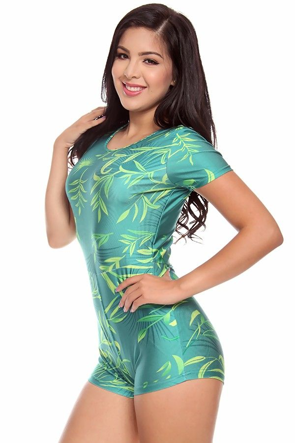 Green Printed Leafs Short Sleeves Romperjumpsuits And Rompers Sexy