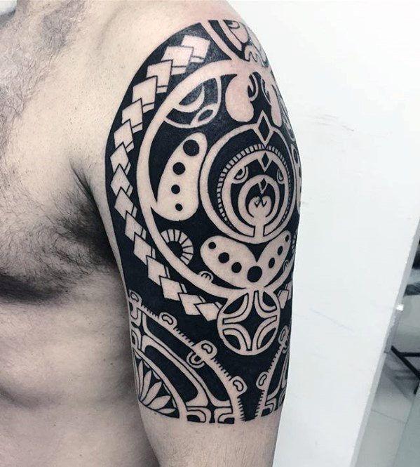 Half Sleeve Arm Guys Cool Polynesian Tattoo Ideas Polynesian
