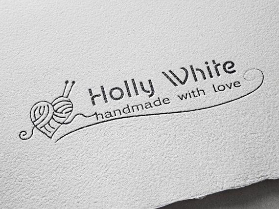 Crochet Handmade Boutique Logo Business And Watermark Heart Retro Pre Made Design
