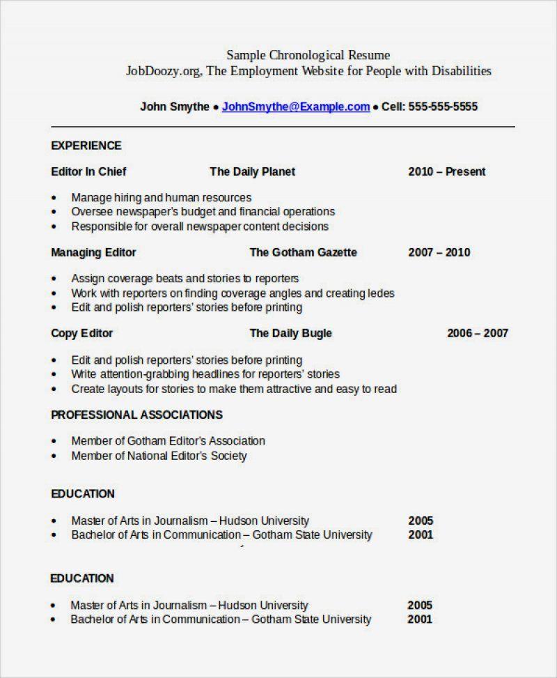 14 Chronological Resume Sample Pdf Ideas di 2020