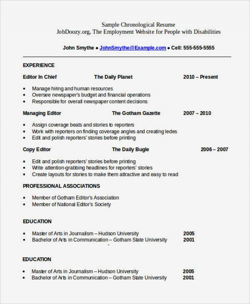 14 Chronological Resume Sample Pdf Ideas