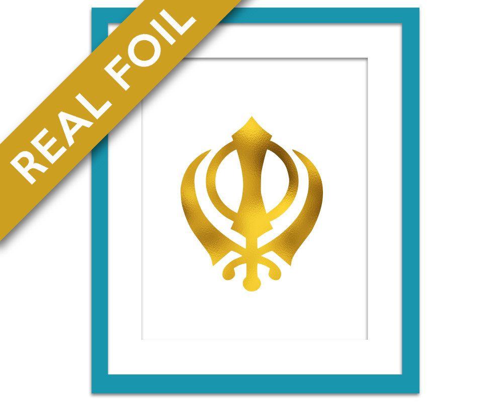 Khanda Gold Foil Art Print 7 Foil Colours 3 Sizes Sikh Wall Art
