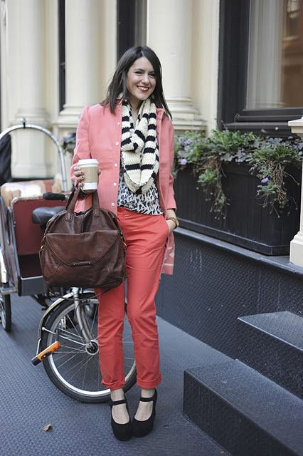 Kendi proves that you can wear pink and coral in winter. love it!