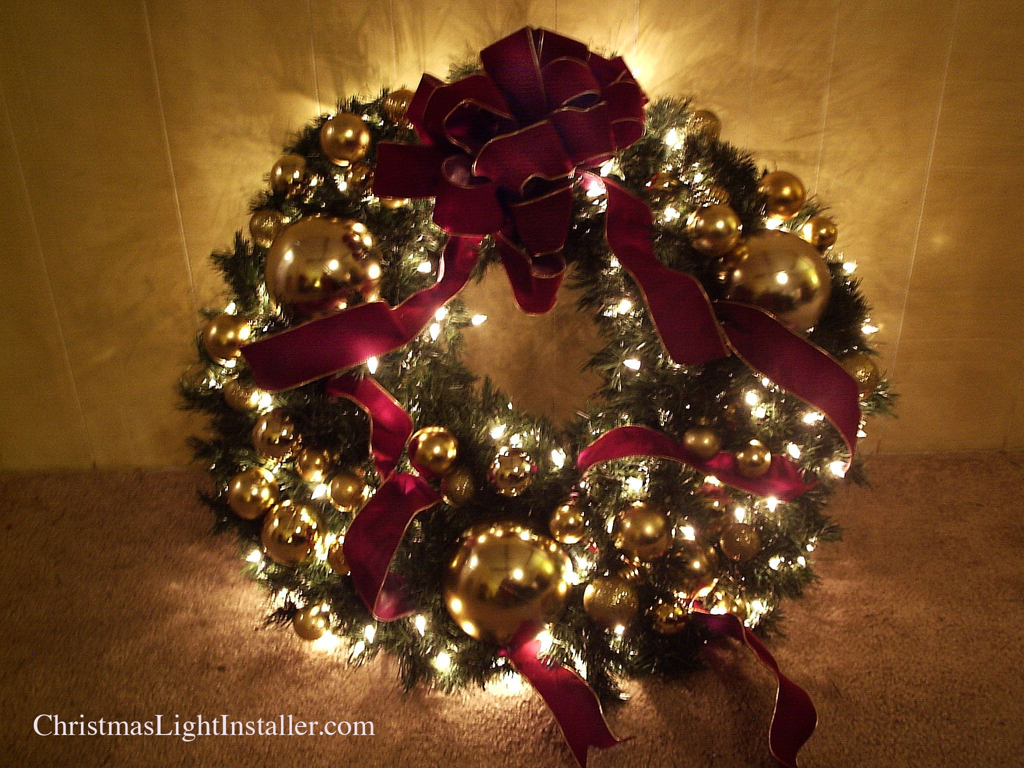 Lighted wreath burgundy gold colors