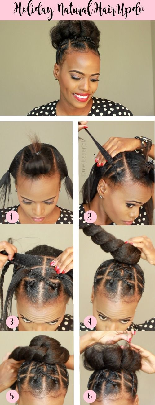 Braided protective and stylish natural hair updo for the holidays #protectivestyles