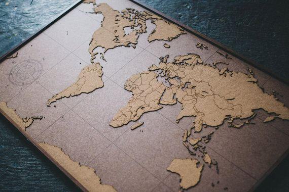 Laser Cut World Map.Lasercut And Handmade Cork World Map Wall Art With Wood Frame 47 2