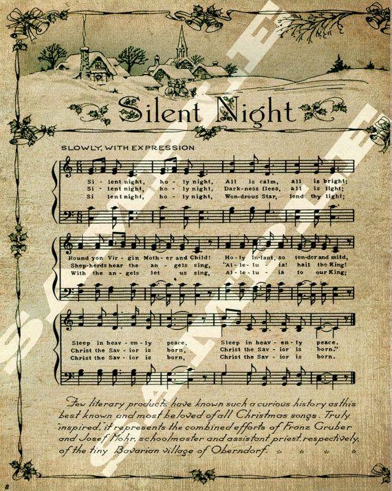 Christmas Holiday Religious Silent Night Sheet Music Printable ...