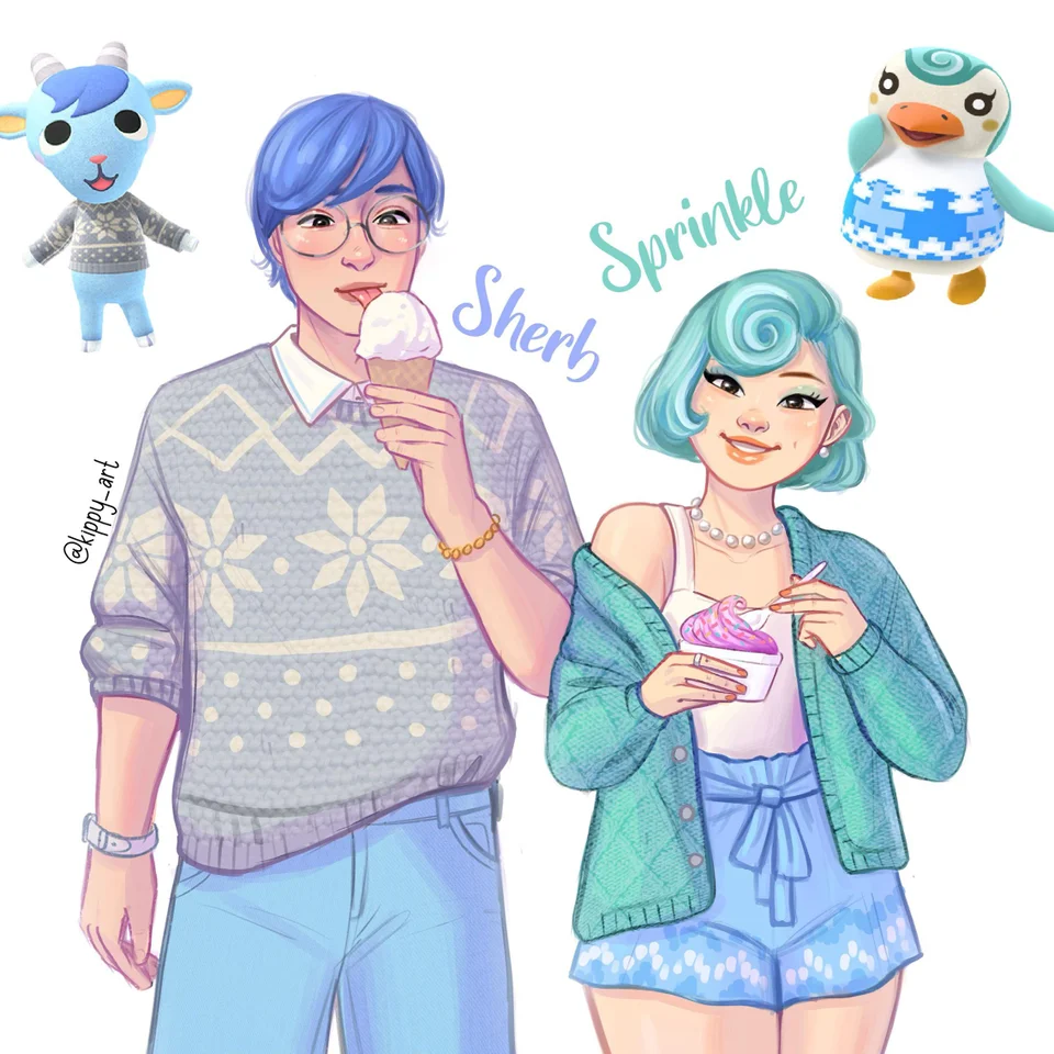 Sherb And Sprinkle As Humans Oc Animalcrossing In 2020 Animal Crossing Villagers Animal Crossing Characters Animal Crossing