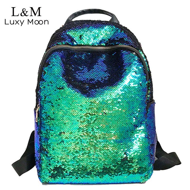 Photo of Glitter Bling Sequins Backpack Women Large Capacity Mochila Feminina 2020 Leather Backpack For Girls