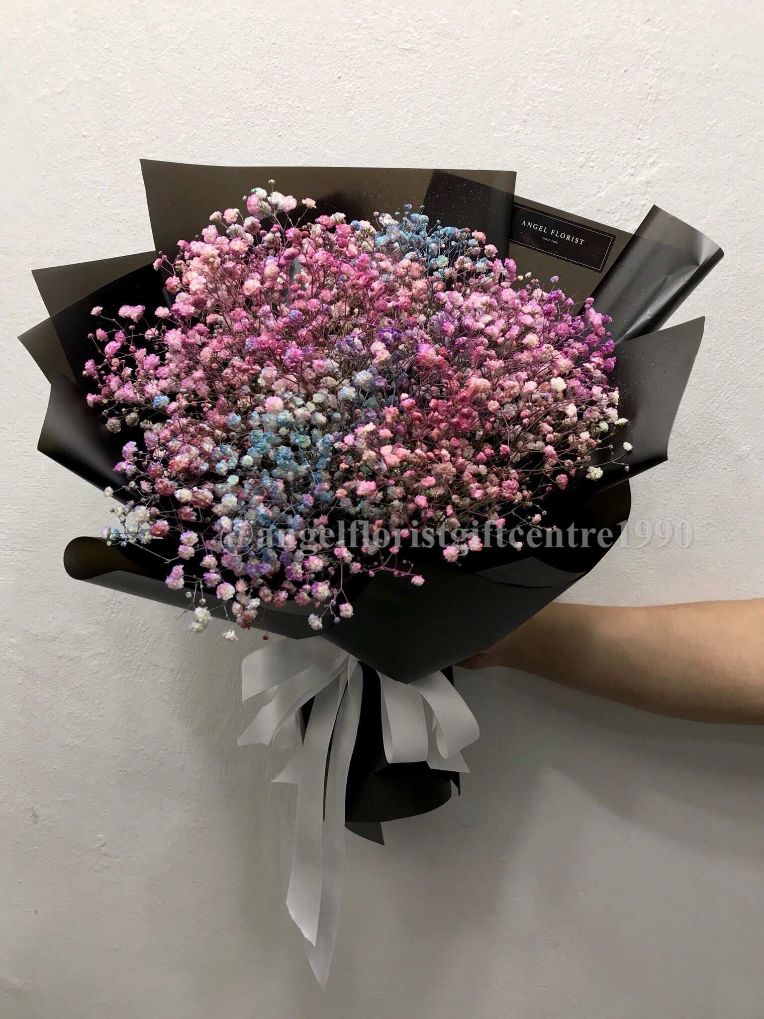 Pale Rainbow Color Baby S Breath Birthday One Flower Bouquet Birthday Flowers Arrangements Babys Breath Bouquet Babys Breath