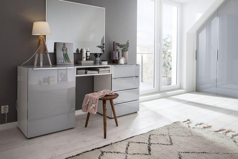 Alegro Style - Frisier- Schminktisch Polarweiß Glas Seidengrau - nolte möbel schlafzimmer