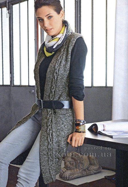длинный жилет спицами Clothes вязаный жилет вязание и длинные