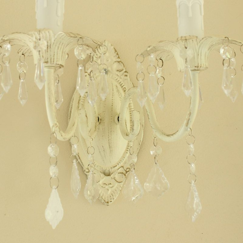 Ornate Cream Wall Lamp with Droppers