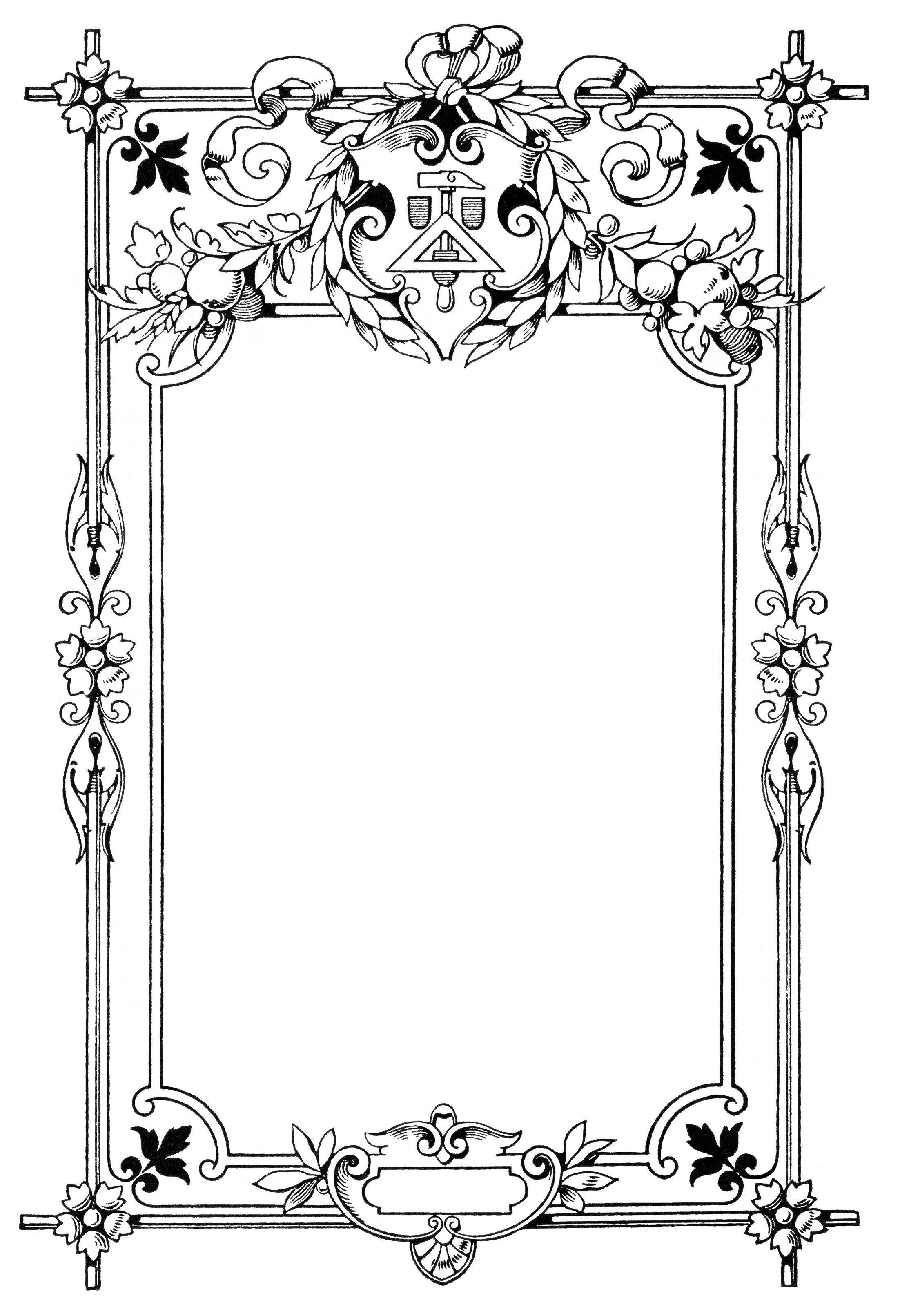 vintage frame clip art, swirly ornate illustration, black and white ...