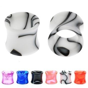 UV Swirling Marble Hollow Saddles - 6g - White - Sold As A Pair WickedBodyJewelz - Plugs - Double Flare - Acrylic. $4.80