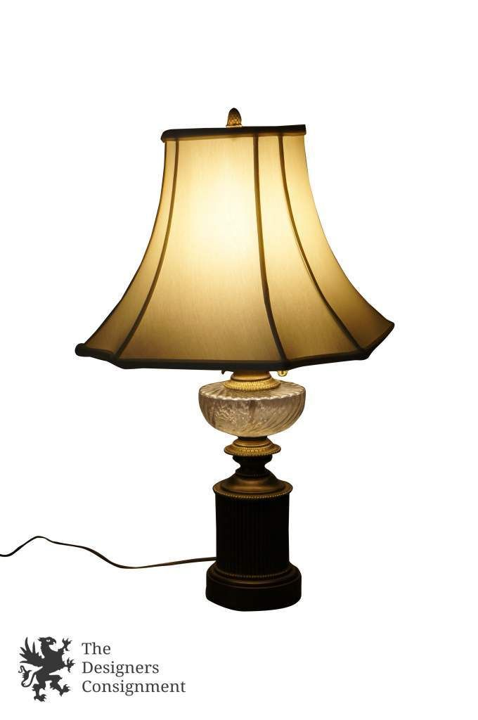 Hollywood Regency Style Br Gl Table Lamp White Shade Hurricane Light The Designers Consignment