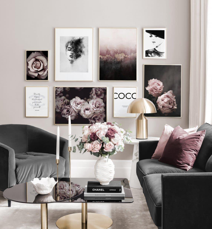 Klassische trendige Bilderwände rosa schwarzweiße Poster Goldrahmen - Inspiration Bilderwand - Posterstore.de