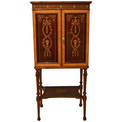 Fine Quality Mahogany Inlaid Music Cabinet by Edwards & Roberts of London