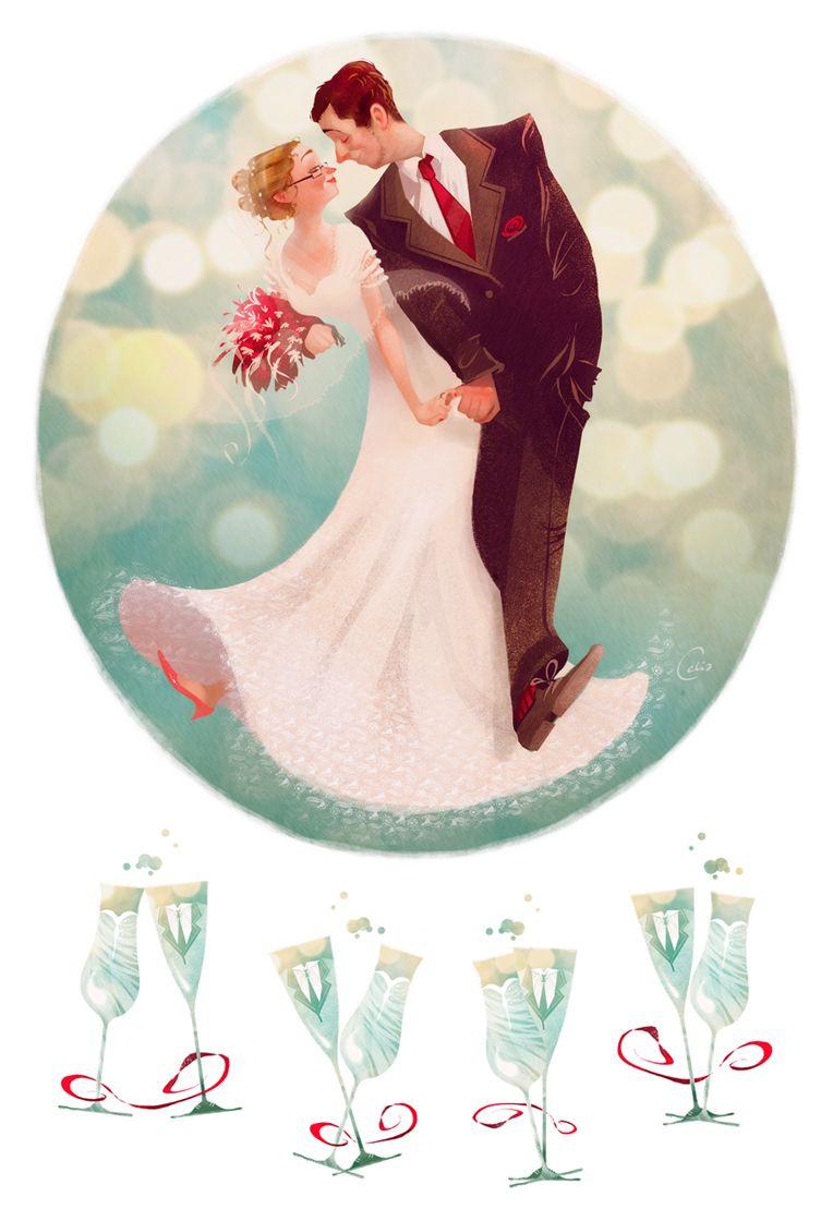 , открытки рисованные с днем свадьбы
