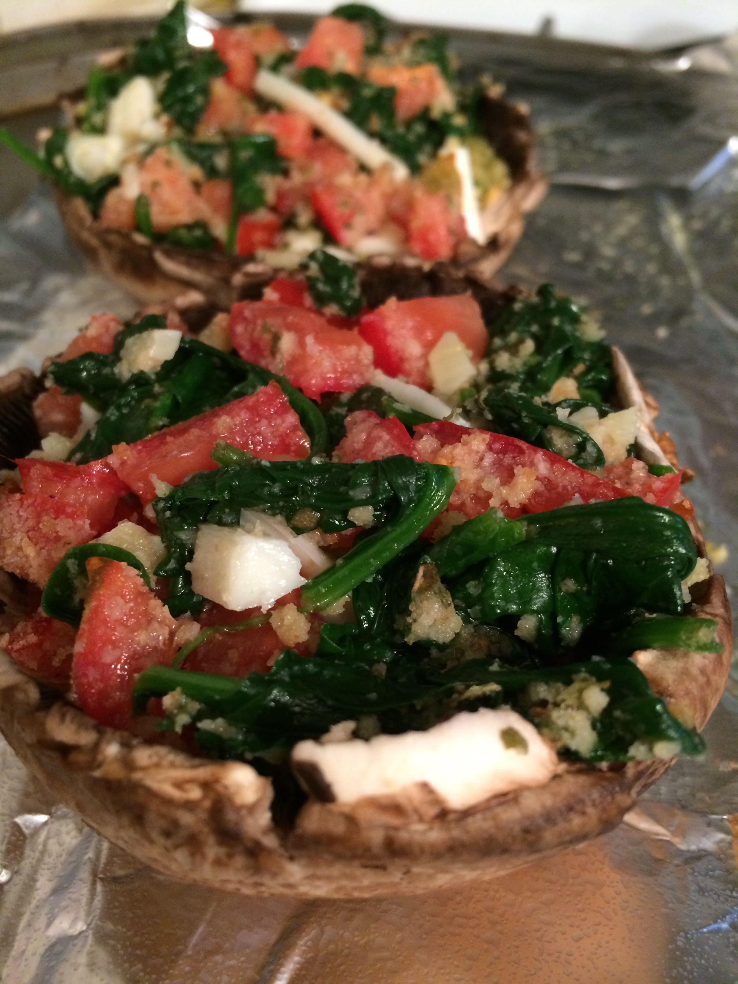 Mozzarella, tomato, Italian bread crumb, pesto, sautéed spinach/garlic/cooking wine stuffed portabella