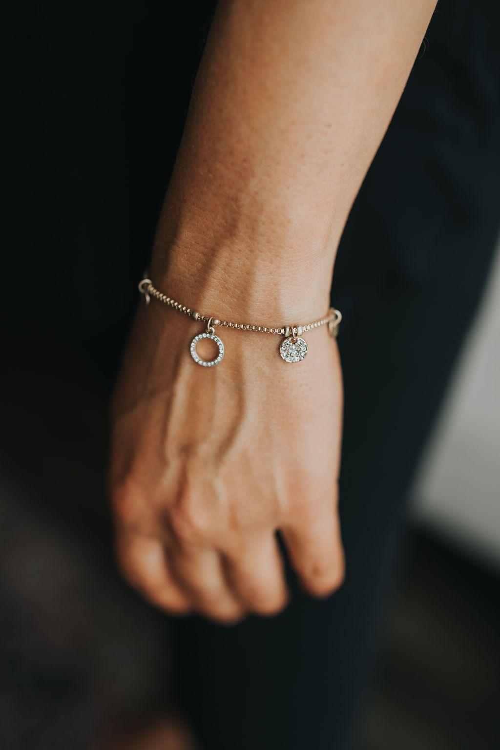 Brushed Gold Tiny Disc Bracelet Features Rhinestone