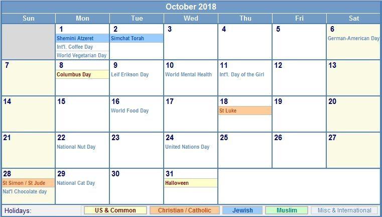 October 2018 Calendar With Holidays UK October 2018 Calendar With