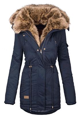 Frauen Damen Winter Jacke Parka Lang Mantel Winterjacke Fell Kragen Warm Blau In 2020 Parka Coat Women