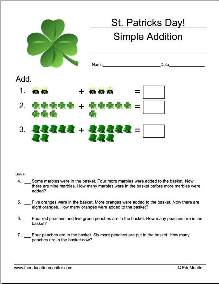 St. Patrick\'s Day math worksheets   Third Grade Worksheets ...