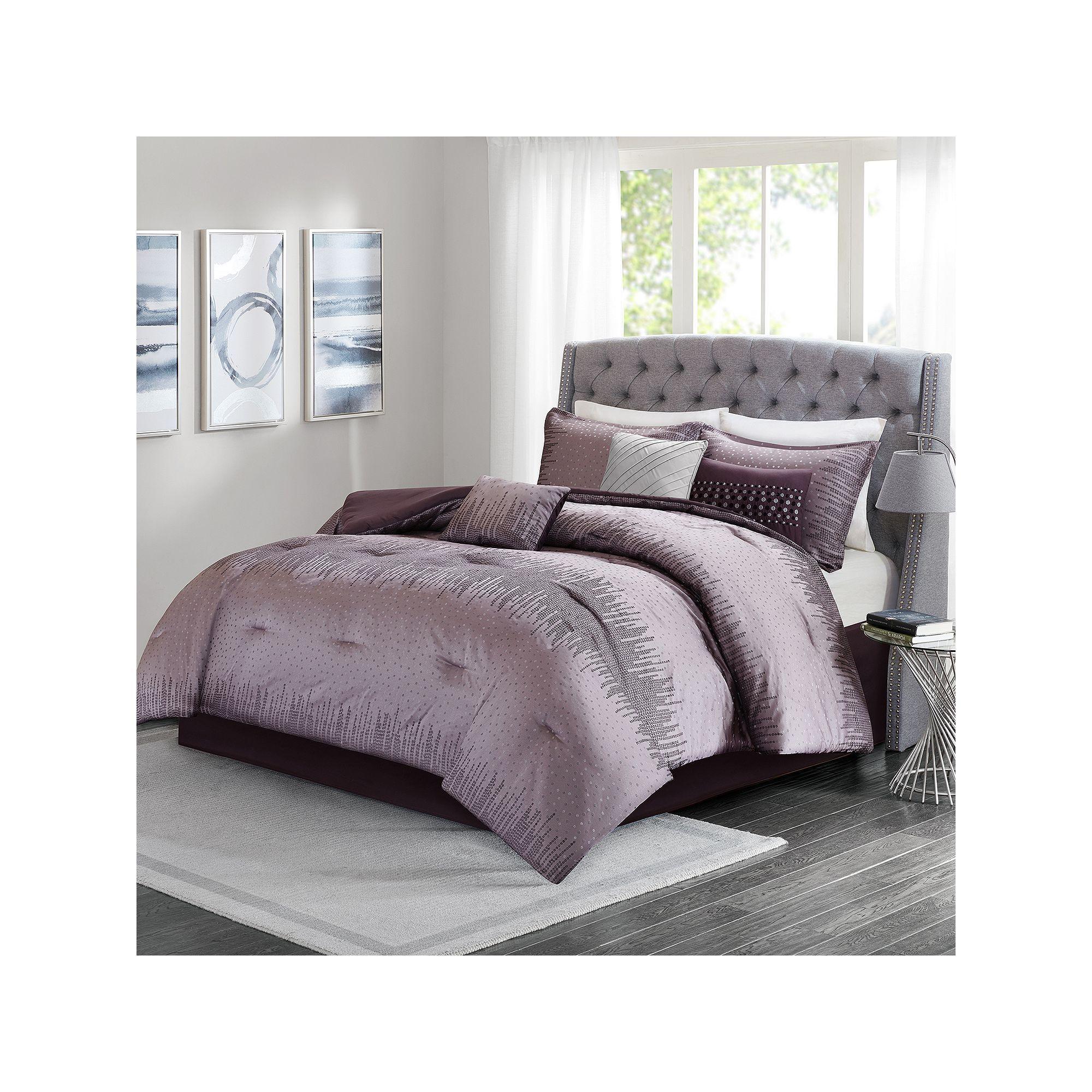 Madison Park 7 Piece Modern Lights Comforter Set Drk Purple