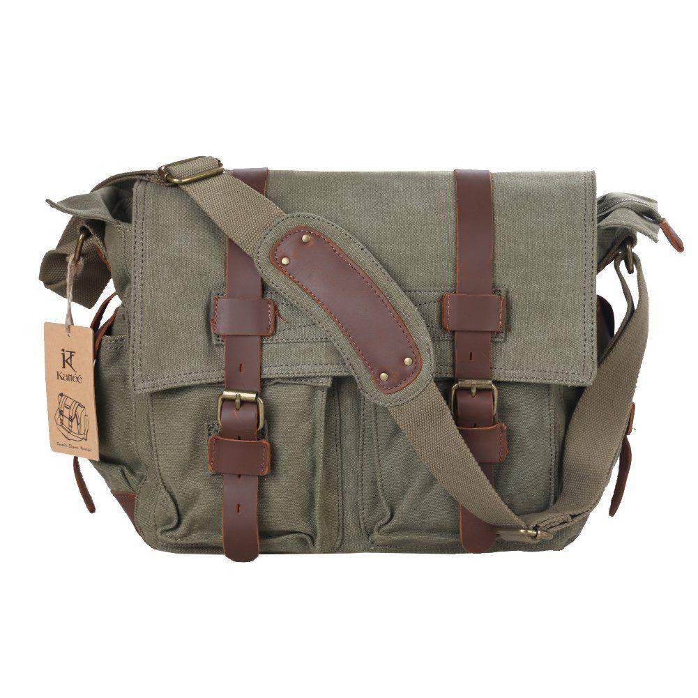 b767f6aa24f2 Amazon.com  Kattee Canvas Cow Leather DSLR SLR Vintage Camera Shoulder  Messenger Bag Army Green  Clothing