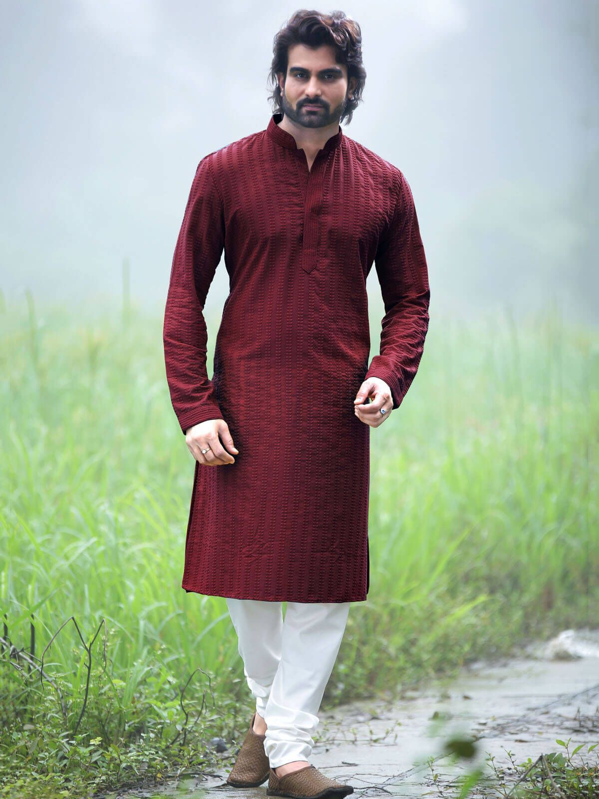e54b905734d Fetching maroon polyester ceremonial wear kurta pyjama. Having fabric  polyester and cotton. The attractive plain work all through the attire is  awe ...