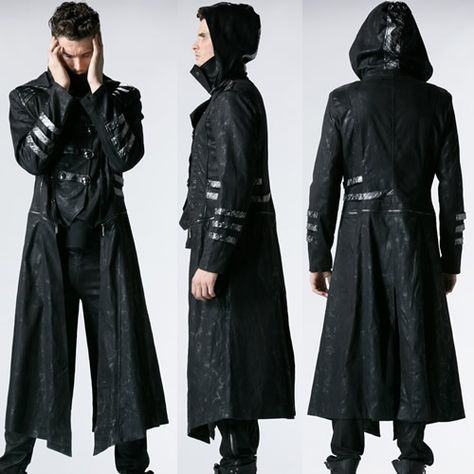 064338893 Black Hooded Military Gothic Calvary Jackets Trench Coats Women Men ...