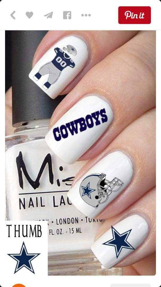 Dallas cowboy nail design. super cool for football mom   football ...