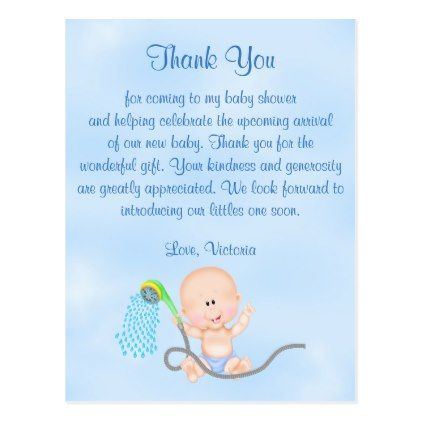Baby Shower Thank You Its A Boy Baby Boy Postcard Boy Gifts Gift