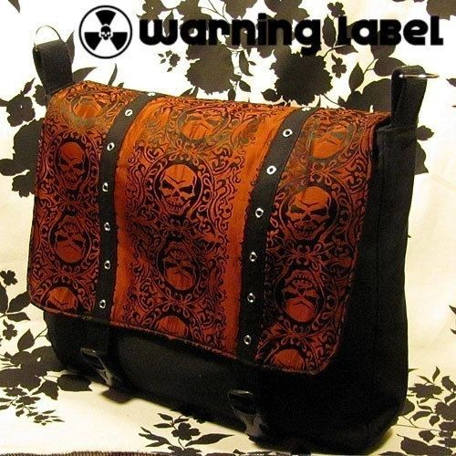 Leviathan Custom 17 Inch Gothic Punk Goth Laptop Notebook Ultrabook Computer Crossbody Messenger Bag Warning Label Creations