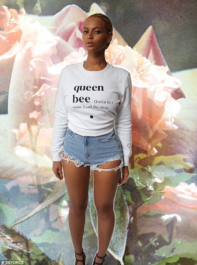 Beyonce reminds everyone who's in charge in 'queen bee' sweatshirt -  Standing out: The 33-year-old star is seen superimposed on a photograph of flowers in the series of - #AngelinaJolie #Bee #Beyonce #charge #constellationtattoo #Queen #reminds #smalltattoo #StylingTips #Sweatshirt #tattoosleeve #whos