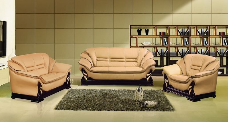 Modern Camel Leather Sofa Couch Loveseat Chair Tufted ...