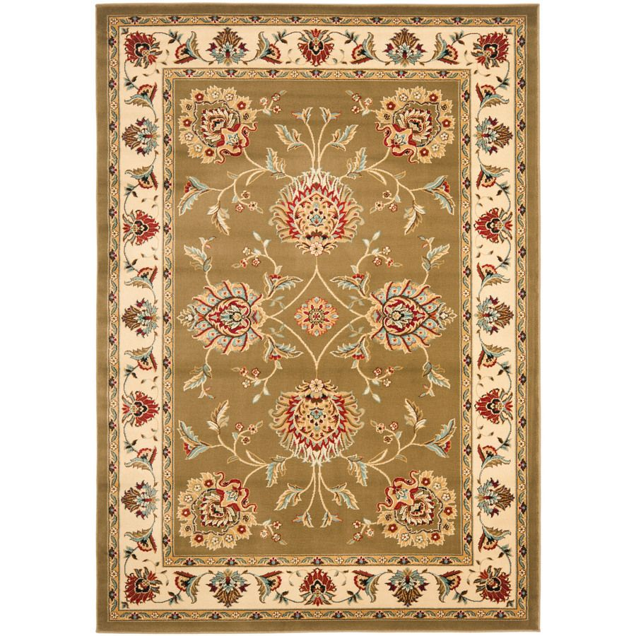 Shop Safavieh Lyndhurst 8 Ft 9 In X 12 Ft Green Transitional Area Rug At Lowes Com Floral Rug Area Rugs Ivory Rug