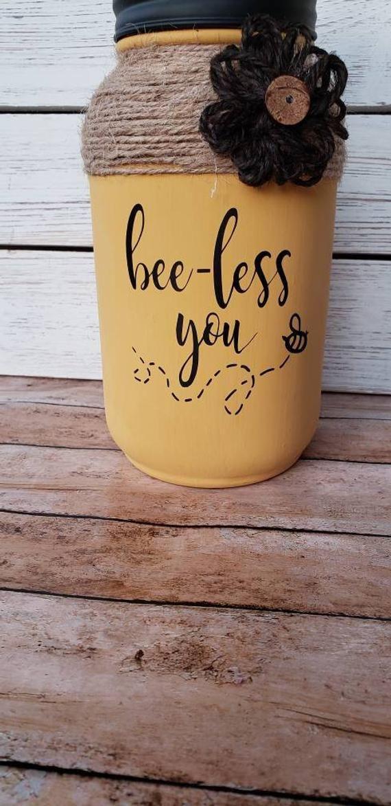 Bee-less You Mason Jar Tissue Holder, Bee Inspired Mason Jar Tissue Dispenser, Bless You Tissue Jar #masonjarbathroom