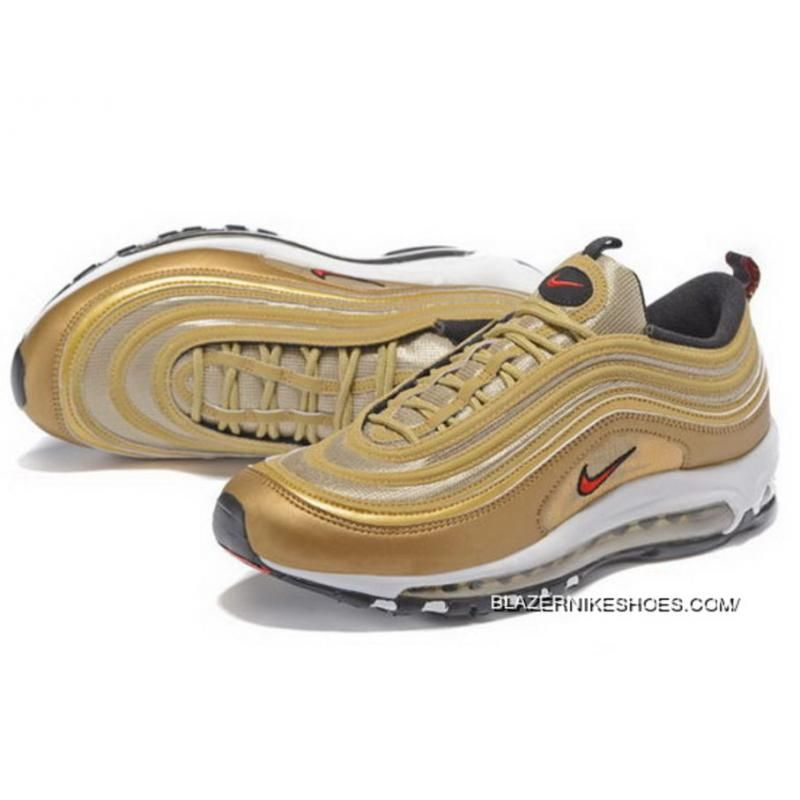 Mens Nike Air Max 97 Gold Red Best Price 6619 Nike Shoes Gold