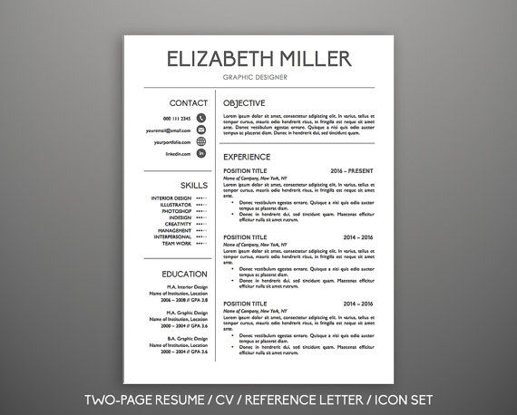 Resume Template CV Template \ Cover Letter for MS Word Modern - microsoft word resume template for mac