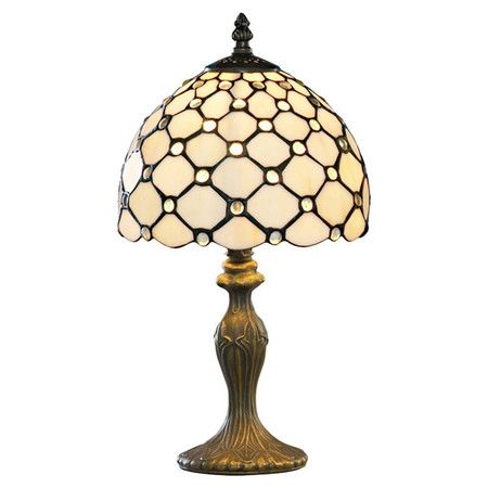Channeling Art Deco style, this brass finished table lamp showcases a tiffany glass shade. Perfect for illuminating your night-time reading or hallway consol...
